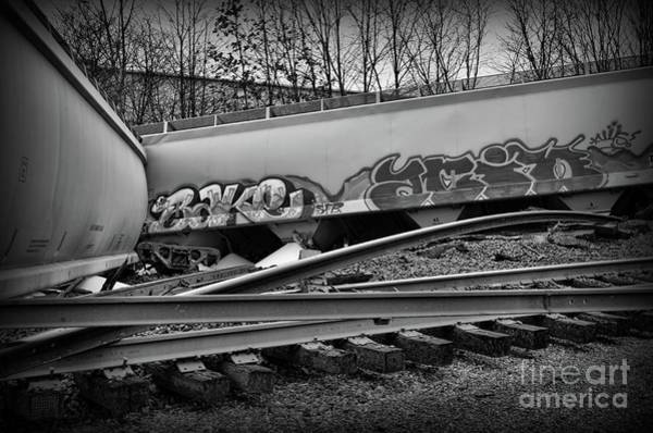 Train Derailment Photograph - Train Twisted Metal In Black And White by Paul Ward