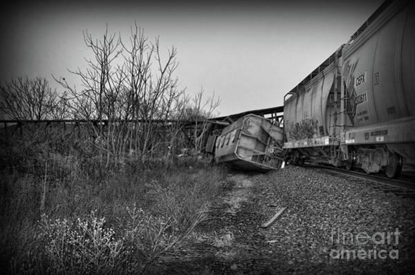 Train Derailment Photograph - Train - We Lost A Car In Black And White by Paul Ward