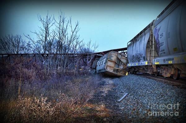 Train Derailment Photograph - Train - We Lost A Car  by Paul Ward