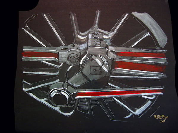 Painting - Train Wheels 3 by Richard Le Page