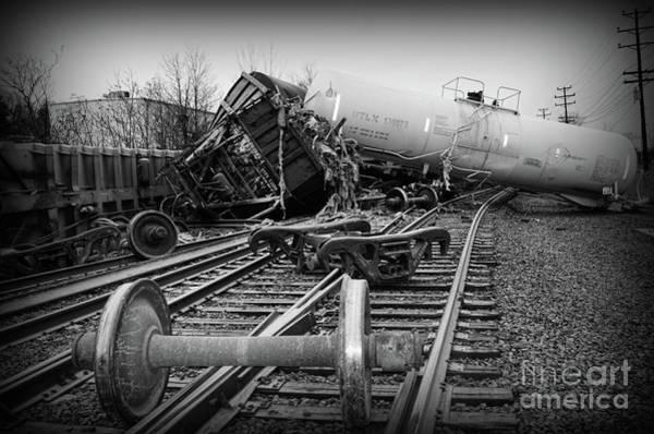 Train Derailment Photograph - Train Wreck In Black And White by Paul Ward