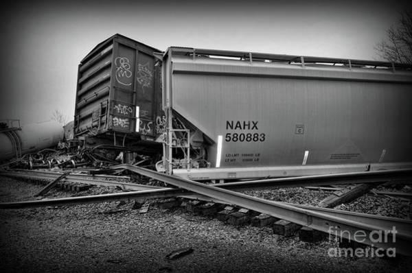 Train Derailment Photograph - Train Wreckage In Black And White by Paul Ward