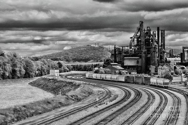 Wall Art - Photograph - Train Yard By The Old Steel Mill In Black And White by Paul Ward