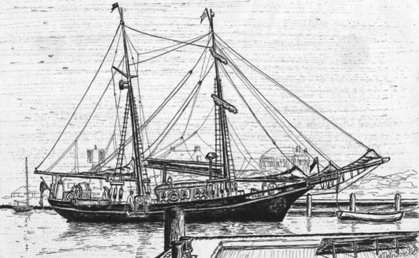 Wall Art - Drawing - Training Ship Tabor Boy At Woods Hole Town Dock by Vic Delnore