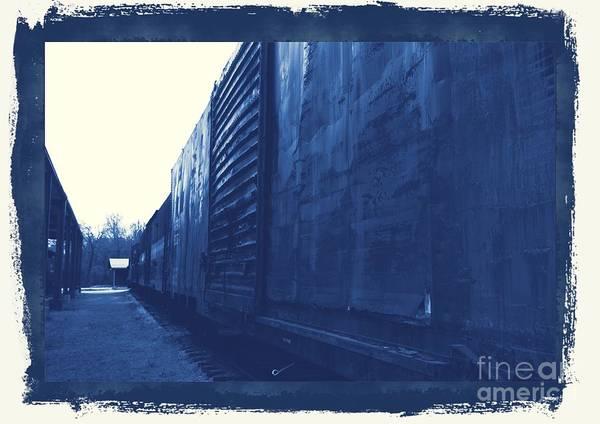Photograph - Trains 12 Cyanotype Border by Jay Mann