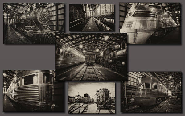 Doona Mixed Media - Trains Irm Sepia Collage by Thomas Woolworth