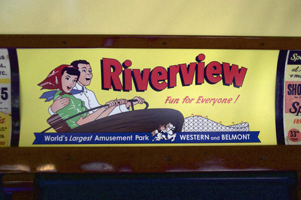 Wall Art - Photograph - Trains Riverview Park Interior Car Vintage Signage by Thomas Woolworth