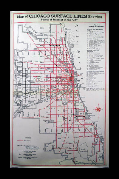 diesel-electric train wall art - mixed media - trains vintage map chicago  surface lines