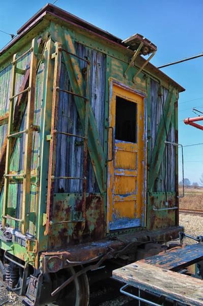 Doona Mixed Media - Trains Wooden Box Car Yellow Door by Thomas Woolworth
