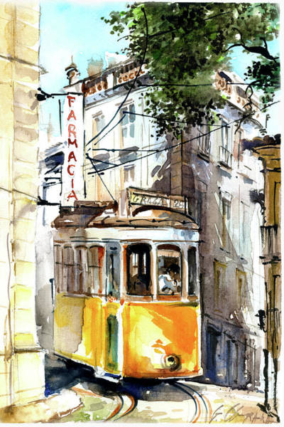 Wall Art - Painting - Tram 28 In Lisbon by Georgi Charaka