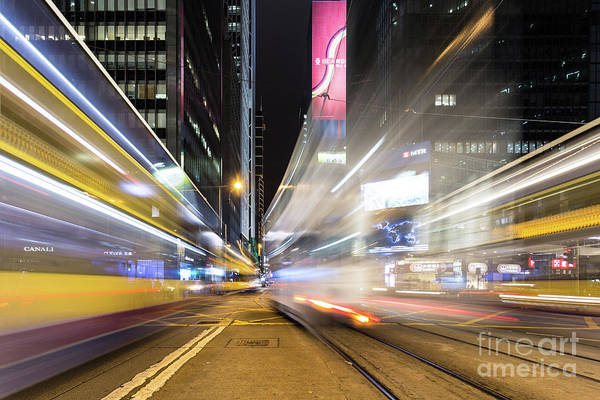 Photograph - Tram And Bus Rush In Central, Hong Kong Island, China by Didier Marti