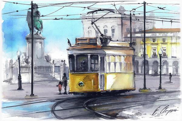 Wall Art - Painting - Tram Lisbon Terreiro Do Paco by Georgi Charaka