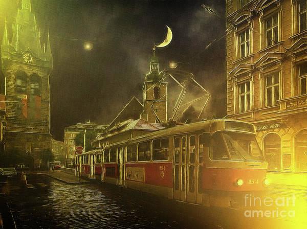 Photograph - Tramatic - Prague Street Scene by Leigh Kemp