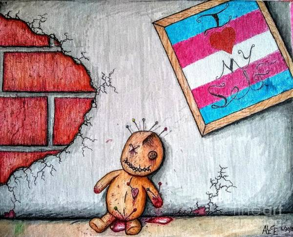 Voodoo Doll Painting - Transgendear by Alice JG Brown