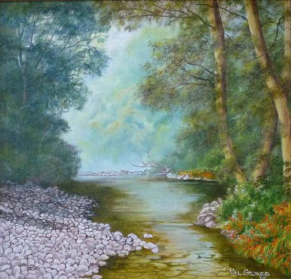 Painting - Tranquil Stream by Val Stokes