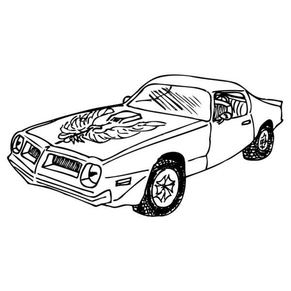 American Car Drawing - Trans Am Car by Karl Addison