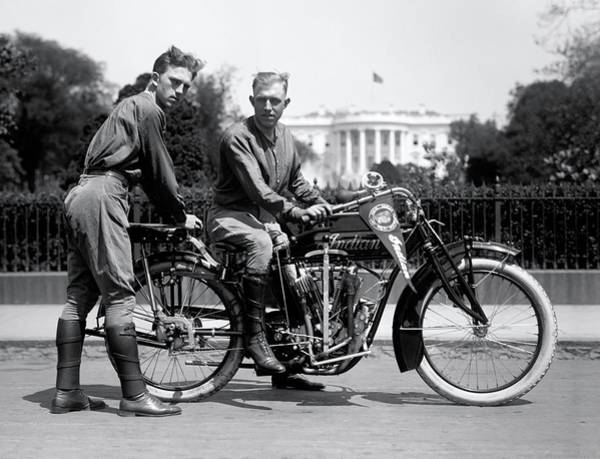 Exuberance Photograph - Transcontinental Indian Motorcycle Ride 1915 by Daniel Hagerman