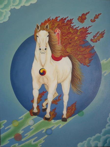 Dzogchen Painting - Transformation - Windhorse by Andrea Nerozzi