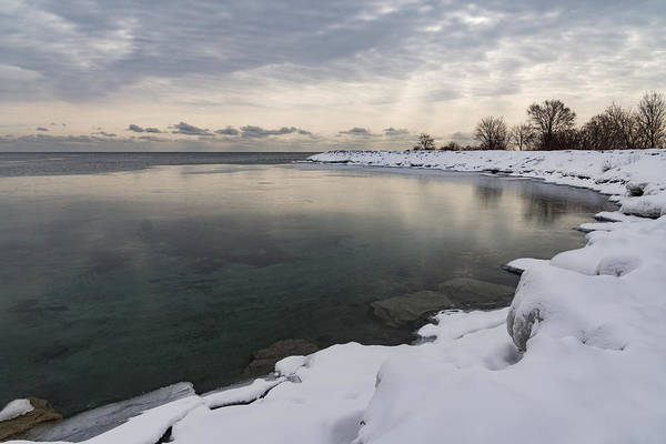 Promontory Point Photograph - Translucent Winter - Small Cove Snowy Morning by Georgia Mizuleva