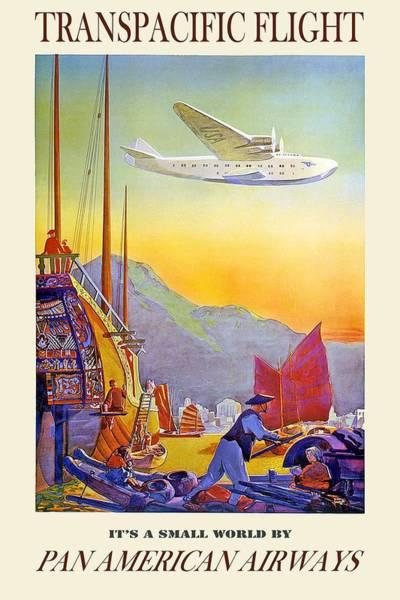 Wall Art - Painting - Transpacific Flight -  Pan American Airways - Vintage Advertising Poster by Studio Grafiikka