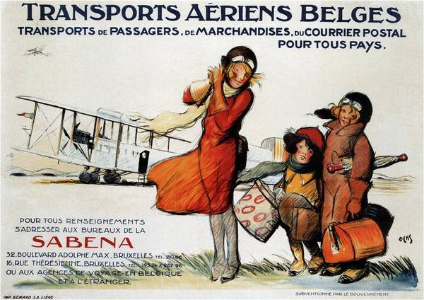 Belgium Mixed Media - Transports Aeriens Belges - Belgian Air Transport - Retro Travel Poster - Vintage Poster by Studio Grafiikka