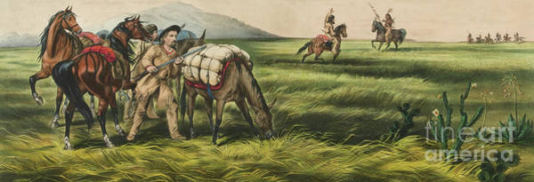 Currier And Ives Painting - Trappers On The Prairie  Peace Or War by Currier and Ives