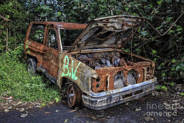 Trash Photograph - Trashed Car Maui Hawaii by Edward Fielding