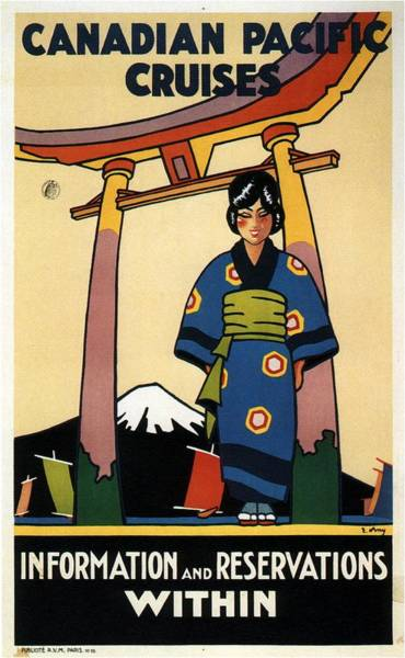 Mount Fuji Wall Art - Mixed Media - Travel Japan - Canadian Pacific Cruises - Japanese Girl In Kimono - Vintage - Retro Travel Poster by Studio Grafiikka