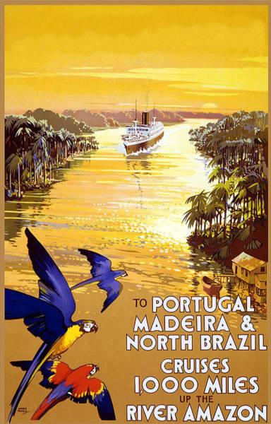 Wall Art - Mixed Media - Travel Poster 1920s To Portugal, Madeira, North Brazil Amazon River by Zal Latzkovich