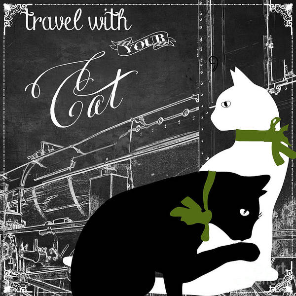 Vintage Train Painting - Travel With Your Cat by Mindy Sommers