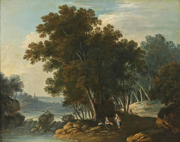 Lazare Painting - Travelers Resting By A Stream by Attributed to Lazare Bruandet