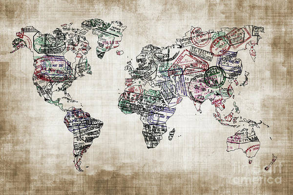Wall Art - Photograph - Traveler World Map Sepia Color by Delphimages Photo Creations