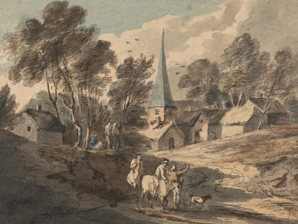 Painting - Travellers On Horseback Approaching A Village With A Spire  by Thomas Gainsborough