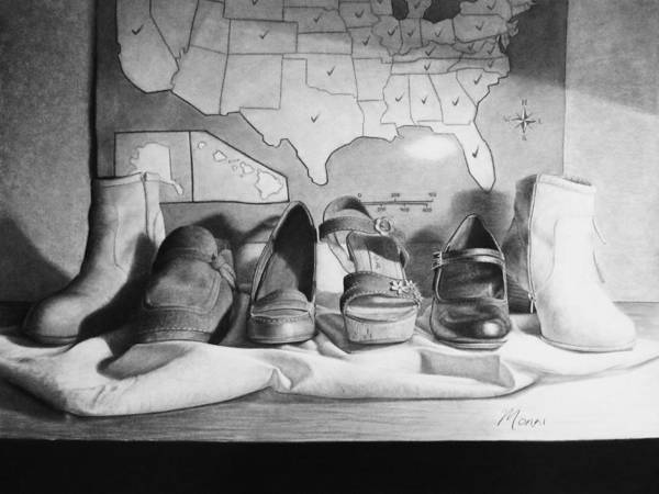 High Heels Drawing - Travelling Shoes by Elizah Monai