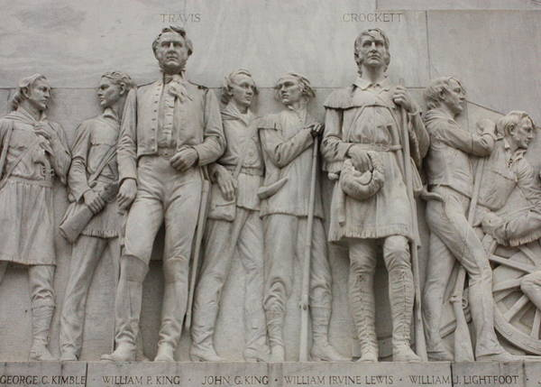 Photograph - Travis And Crockett On Alamo Monument by Carol Groenen