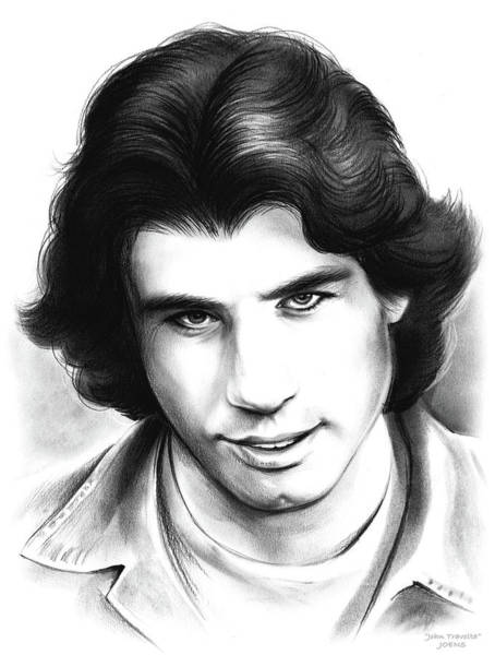 Back Drawing - Travolta by Greg Joens
