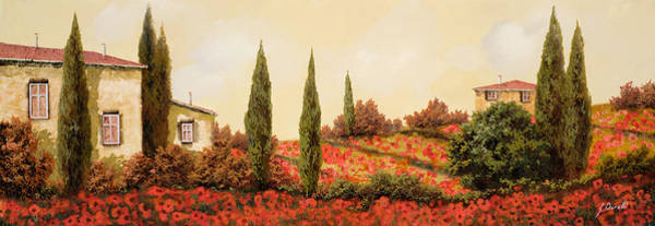 Tuscany Landscape Wall Art - Painting - Tre Case Tra I Papaveri by Guido Borelli
