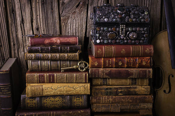 Skeleton Key Photograph - Treasure Box On Old Books by Garry Gay
