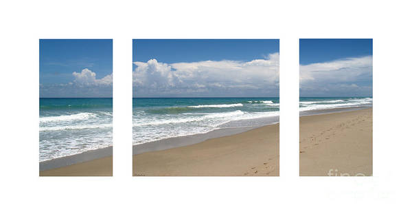 Photograph - Treasure Coast Beach Florida Seascape C4 Triptych 2 by Ricardos Creations