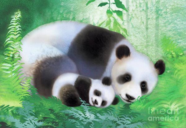 Driftwood Painting - Treasure Garden Pandas by Tracy Herrmann