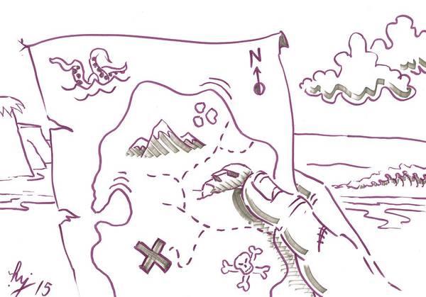 Drawing - Treasure Map Cartoon - Where Did I Bury It by Mike Jory