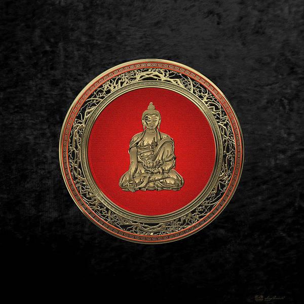 Gautama Digital Art - Treasure Trove - Gold Buddha On Black Velvet by Serge Averbukh