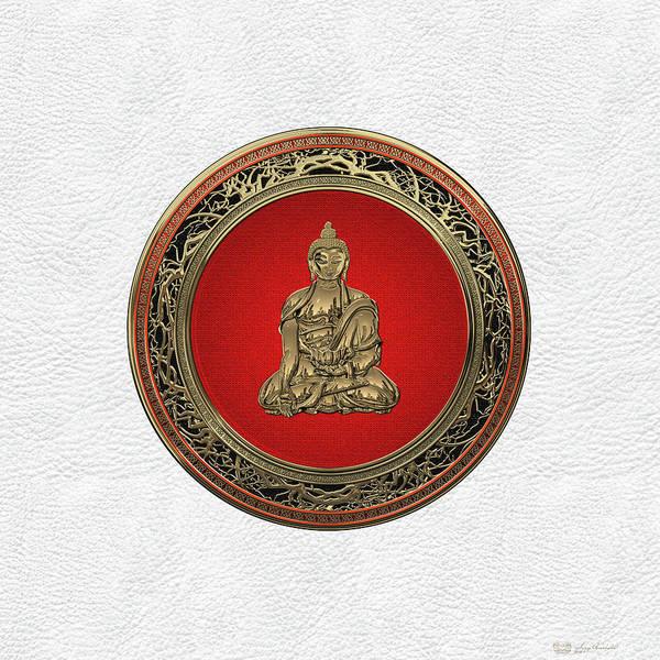 Gautama Digital Art - Treasure Trove - Gold Buddha On White Leather by Serge Averbukh