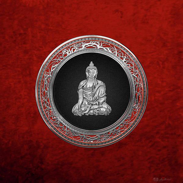Gautama Digital Art - Treasure Trove - Silver Buddha On Red Velvet by Serge Averbukh