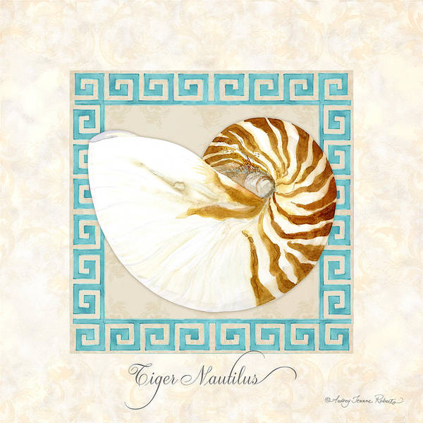 Wall Art - Painting - Treasures From The Sea - Tiger Nautilus Shell by Audrey Jeanne Roberts
