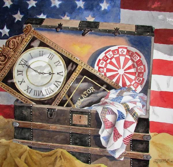 Grandfather Clock Painting - Treasures by Tony Caviston