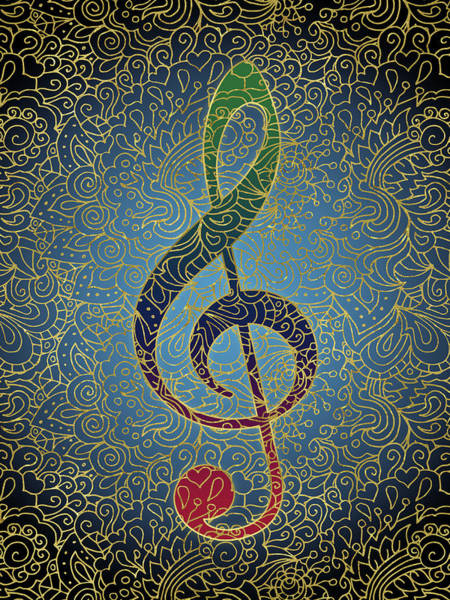 Wall Art - Digital Art - Treble Clef Colorful Gold by Flo Karp