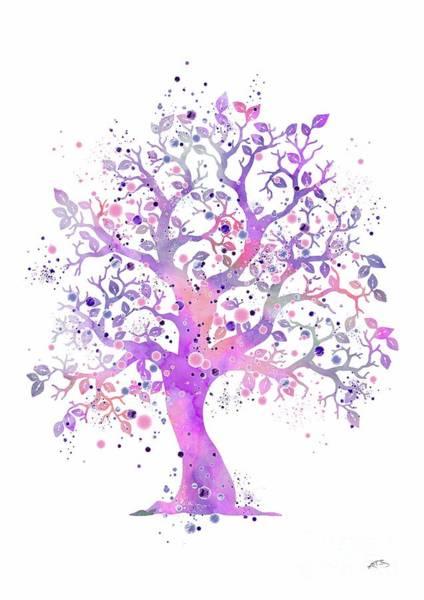 Wedding Gift Digital Art - Tree 2 Watercolor by Svetla Tancheva
