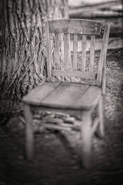 Wall Art - Photograph - Tree And Broken Wooden Chair In Bw by YoPedro