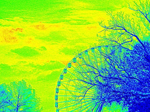 Tree And Ferris Wheel  Art Print